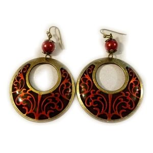 Jewelry - BUNDLE FREEBIE! Red Bronze Hoop Earrings, Filigr…